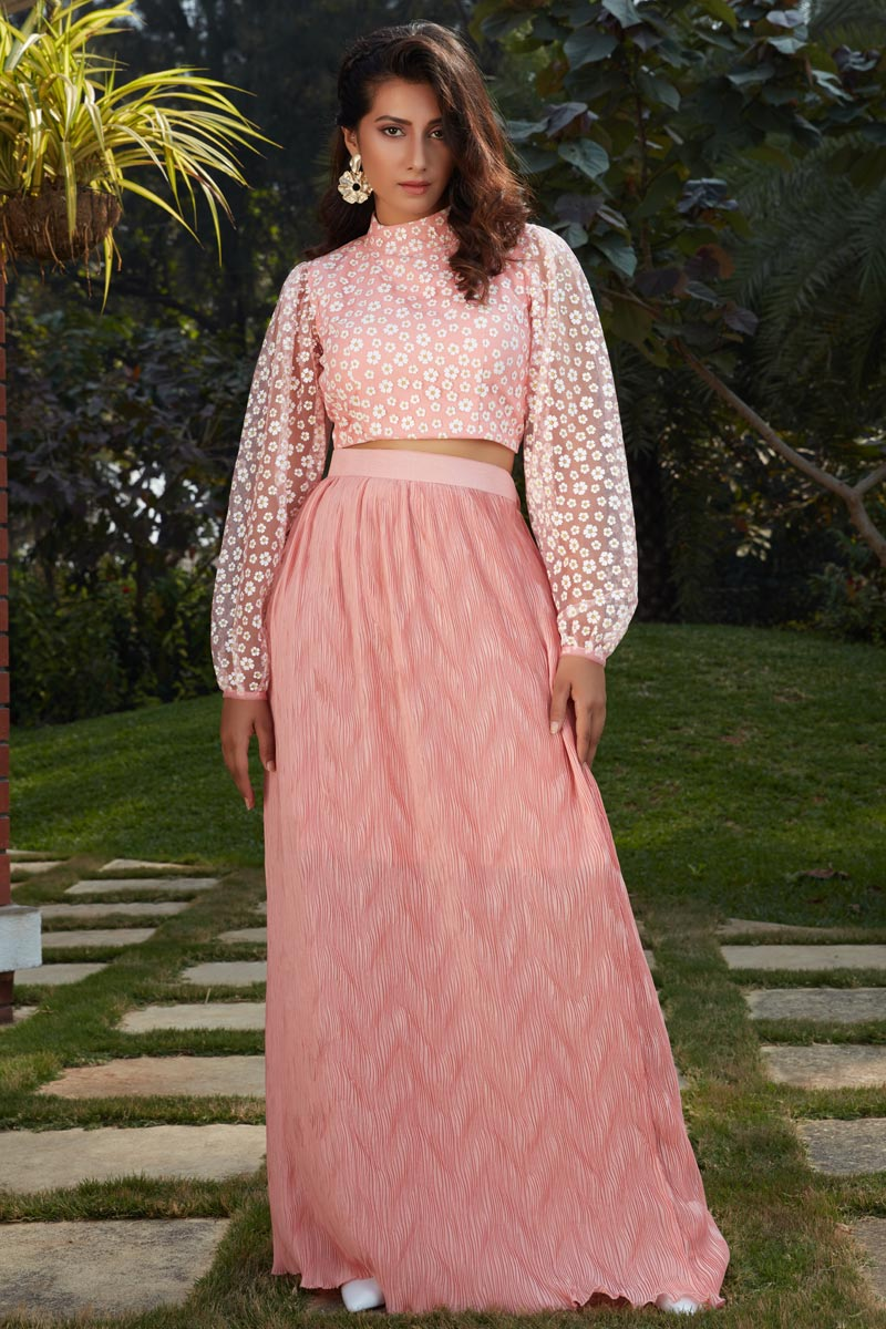 Exclusive Pink Color Fancy Fabric Party Wear Indo Western Top And Printed Skirt