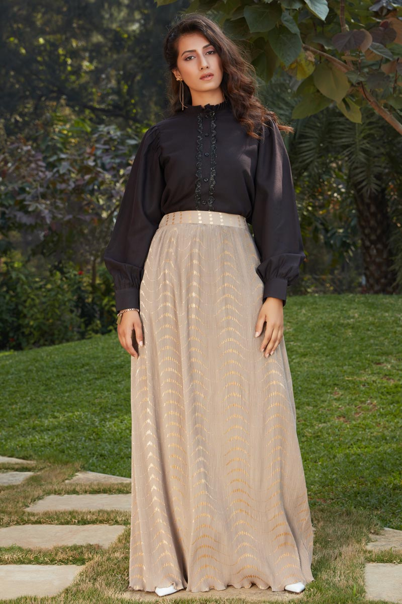 Exclusive Cream Color Fancy Fabric Indo Western Top And Printed Skirt