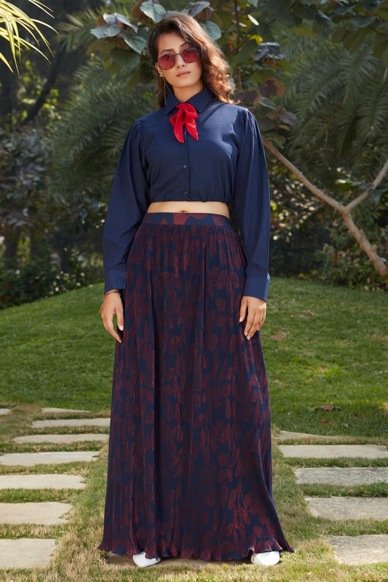 Exclusive Navy Blue Color Fancy Fabric Party Wear Indo Western Top And Printed Skirt