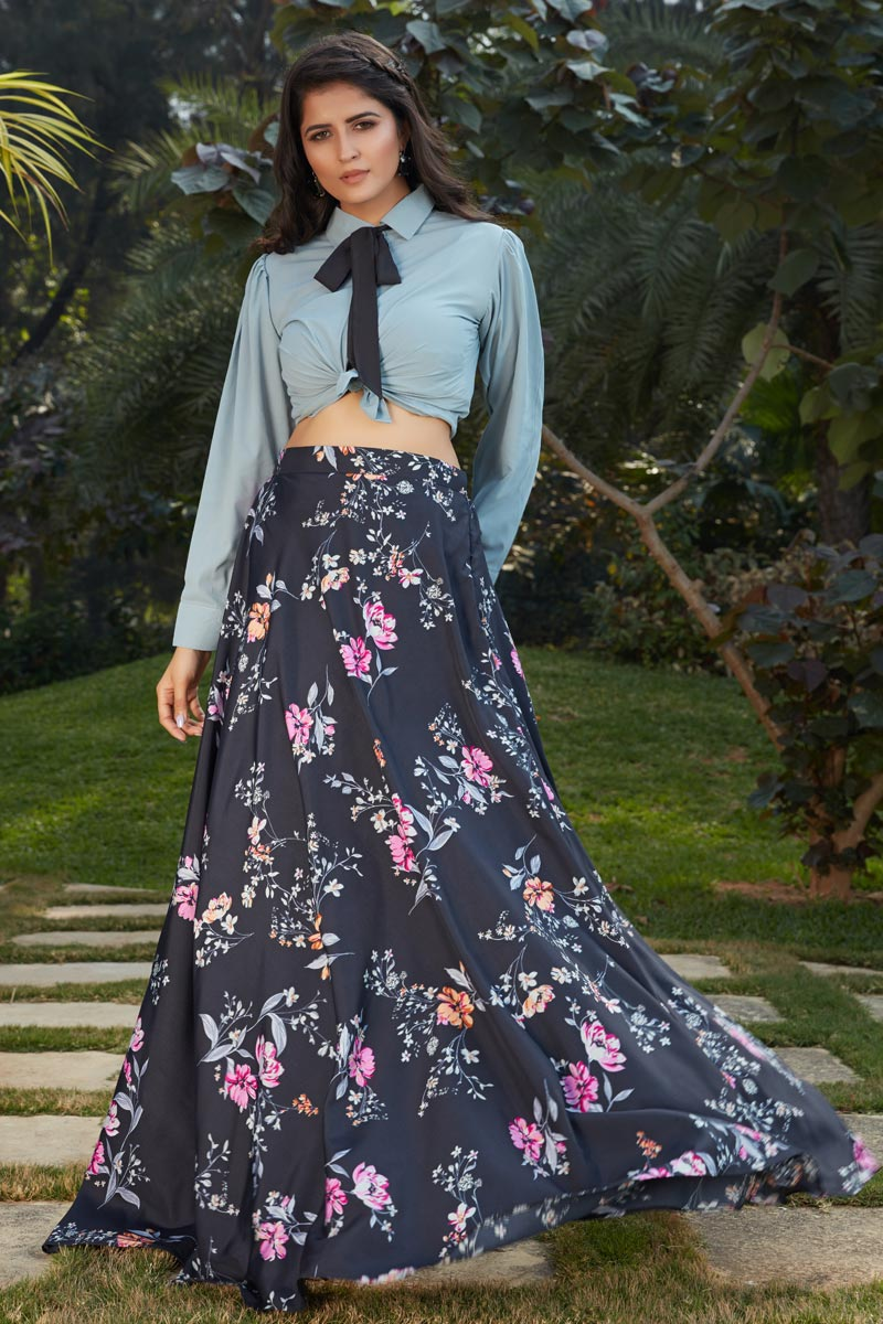 Exclusive Black Color Crepe Silk Fabric Indo Western Top And Printed Skirt