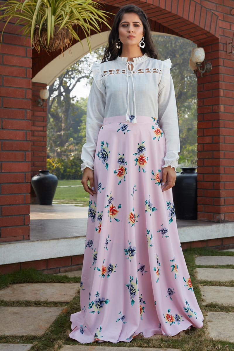 Exclusive Pink Color Crepe Silk Fabric Party Wear Indo Western Top And Printed Skirt
