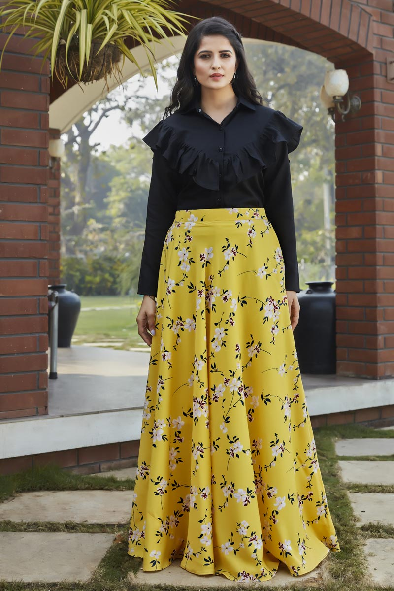 Exclusive Yellow Color Crepe Silk Party Wear Indo Western Top And Printed Skirt