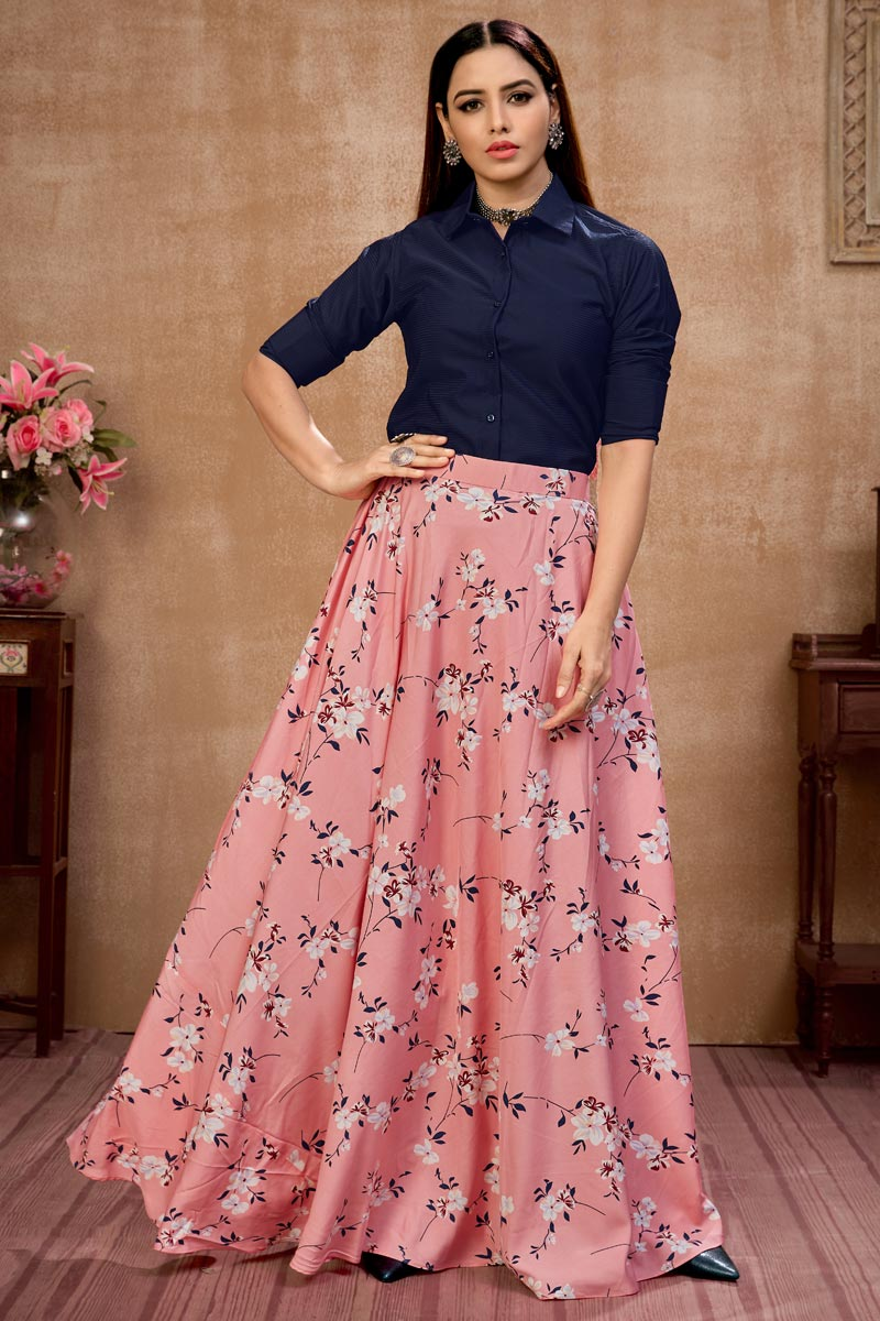 Exclusive Pink Color Art Silk Fabric Party Wear Indo Western Top And Printed Skirt