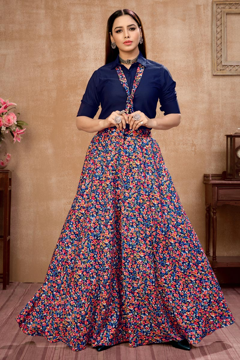 Exclusive Blue Color Art Silk Fabric Party Wear Indo Western Top And Printed Skirt