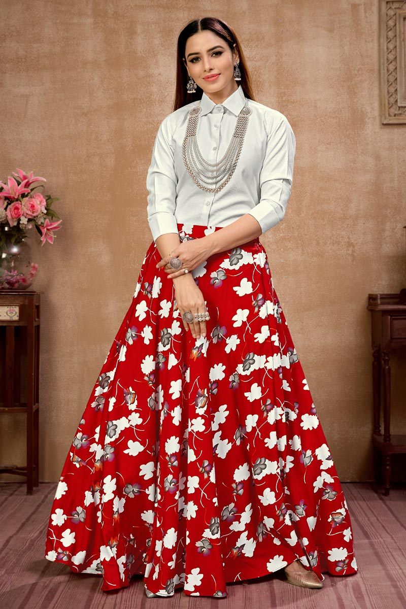 Exclusive Red Color Party Wear Indo Western Top And Printed Skirt