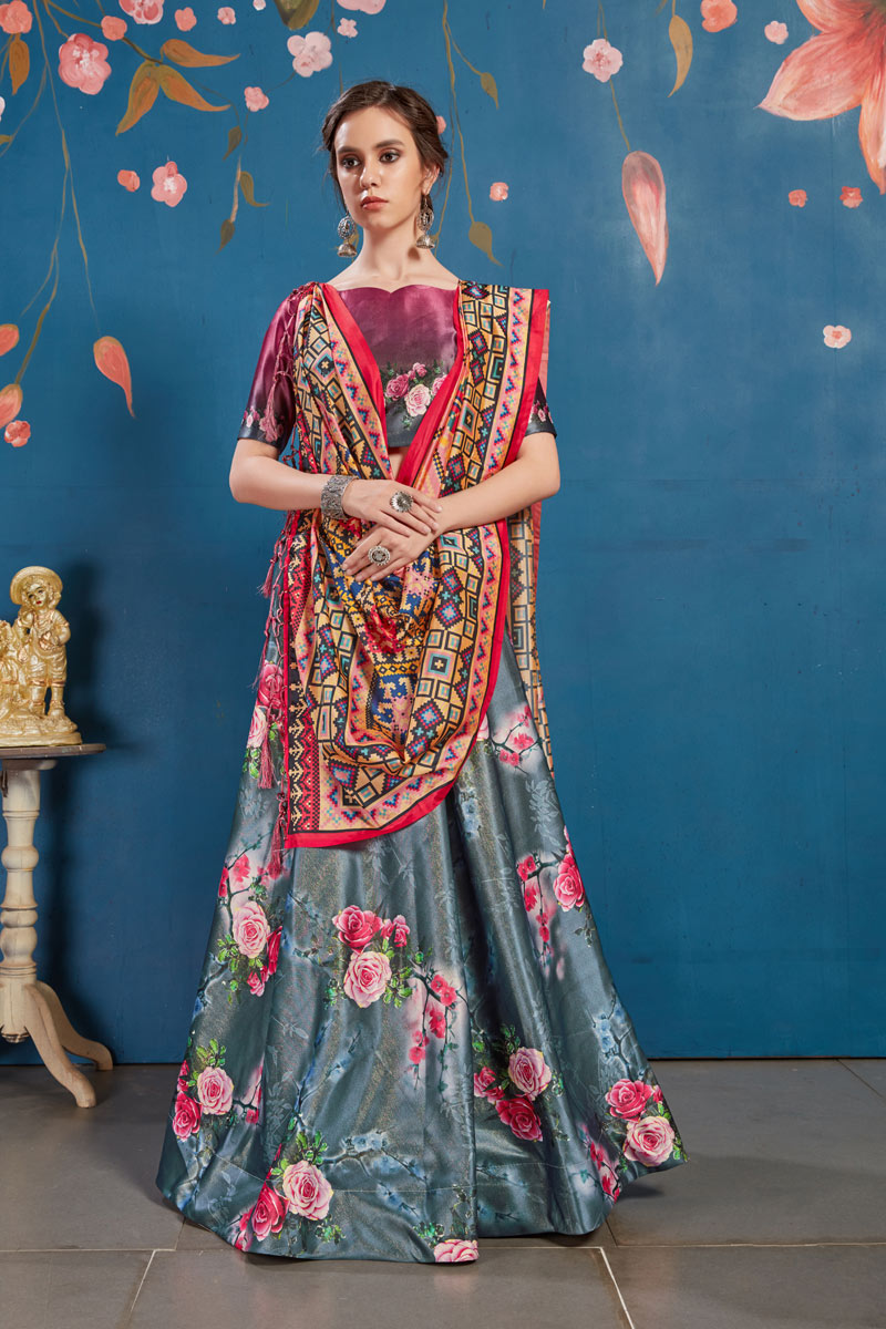 Digital Print Wedding Wear Lehenga Choli In Art Silk Fabric Grey Color