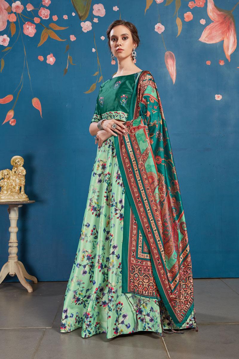 Sea Green Color Sangeet Wear Lehenga With Digital Print In Art Silk Fabric