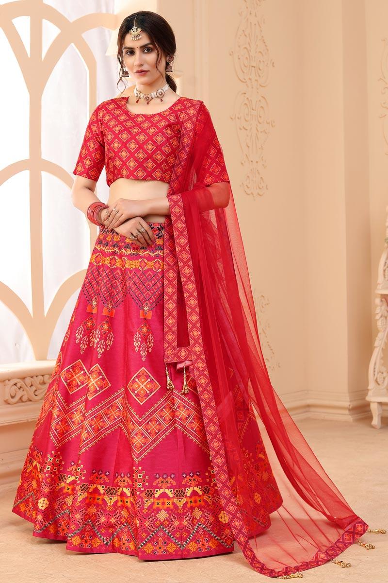 Pink Color Printed Designer Function Wear Art Silk Fabric Lehenga