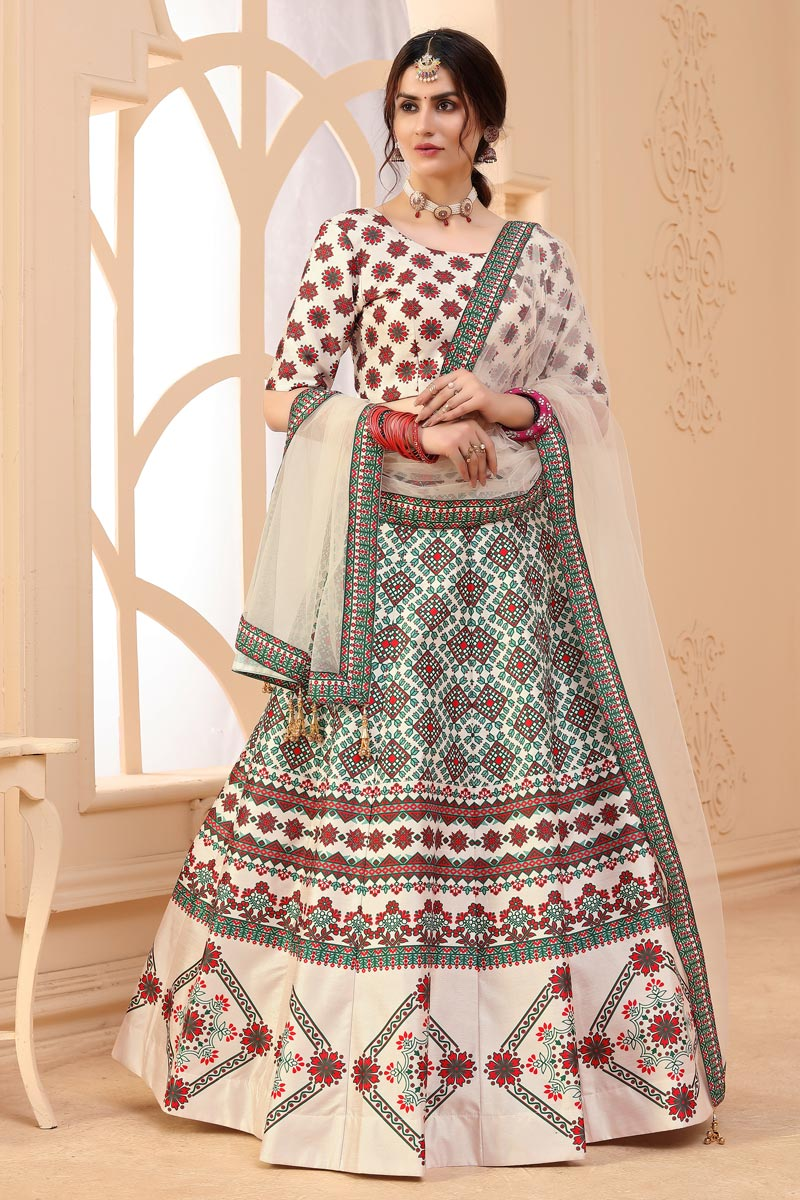 Beige Color Art Silk Fabric Printed Function Wear Fancy Lehenga Choli