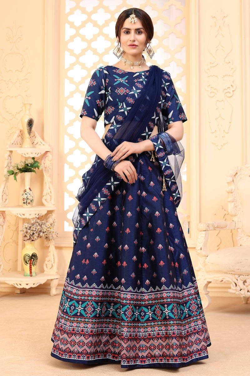 Art Silk Fabric Printed Festive Wear Trendy Lehenga Choli In Navy Blue Color