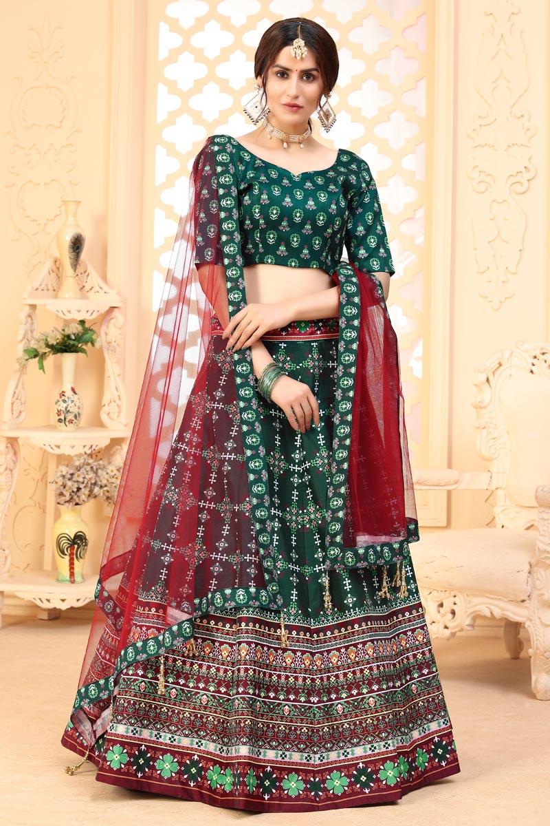 Printed Sangeet Wear Stylish Lehenga Choli In Dark Green Color Art Silk Fabric