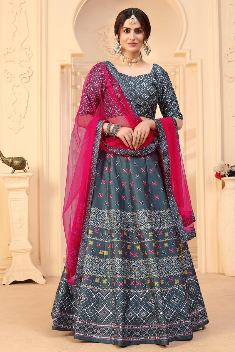 Art Silk Fabric Printed Function Wear Designer Lehenga Choli In Grey Color