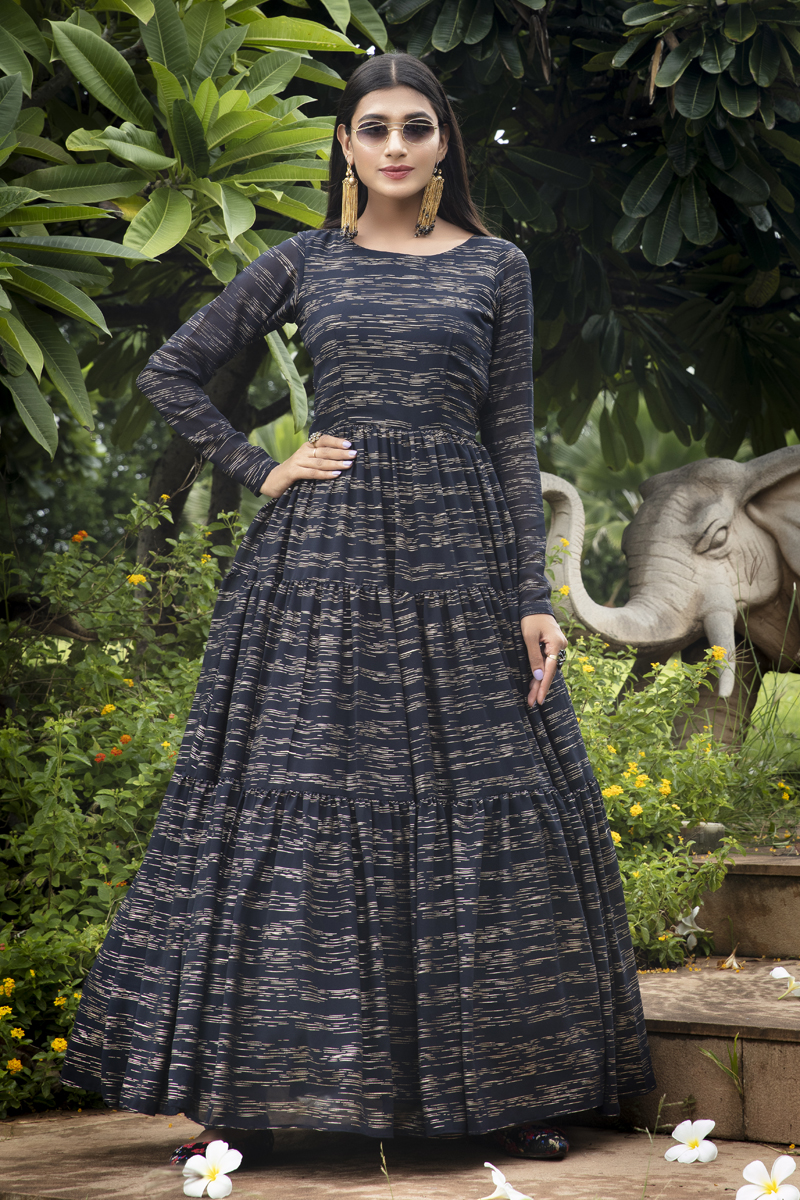 Designer Party Style Georgette Fabric Black Color Printed Readymade Gown