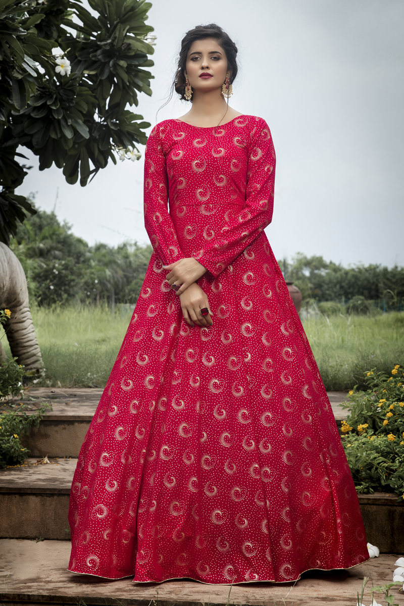 Party Style Dark Pink Color Designer Printed Readymade Gown In Georgette Fabric