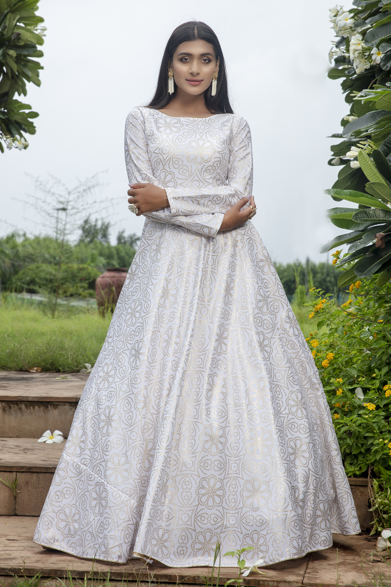 Designer White Color Party Style Printed Cotton Fabric Readymade Gown