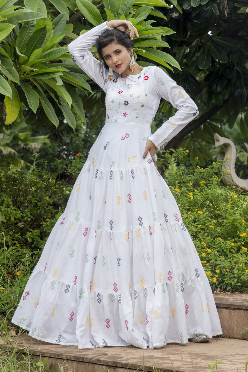 White Color Cotton Fabric Embroidery Work Party Wear Fancy Readymade Long Gown