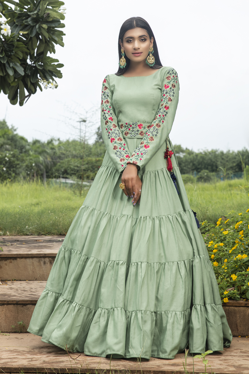 Cotton Fabric Embroidery Work Function Wear Designer Readymade Long Gown