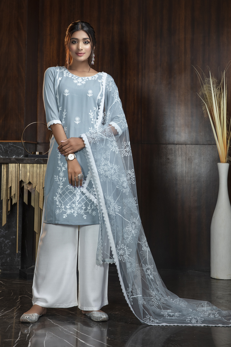 Light Grey Color Embroidered Palazzo Salwar Kameez