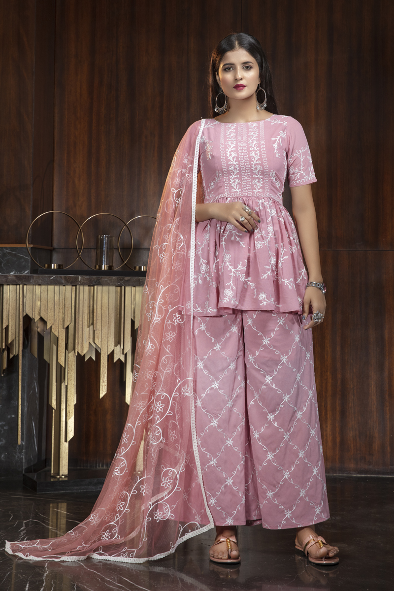 Pink Color Georgette Fabric Daily Wear Embroidered Palazzo Suit
