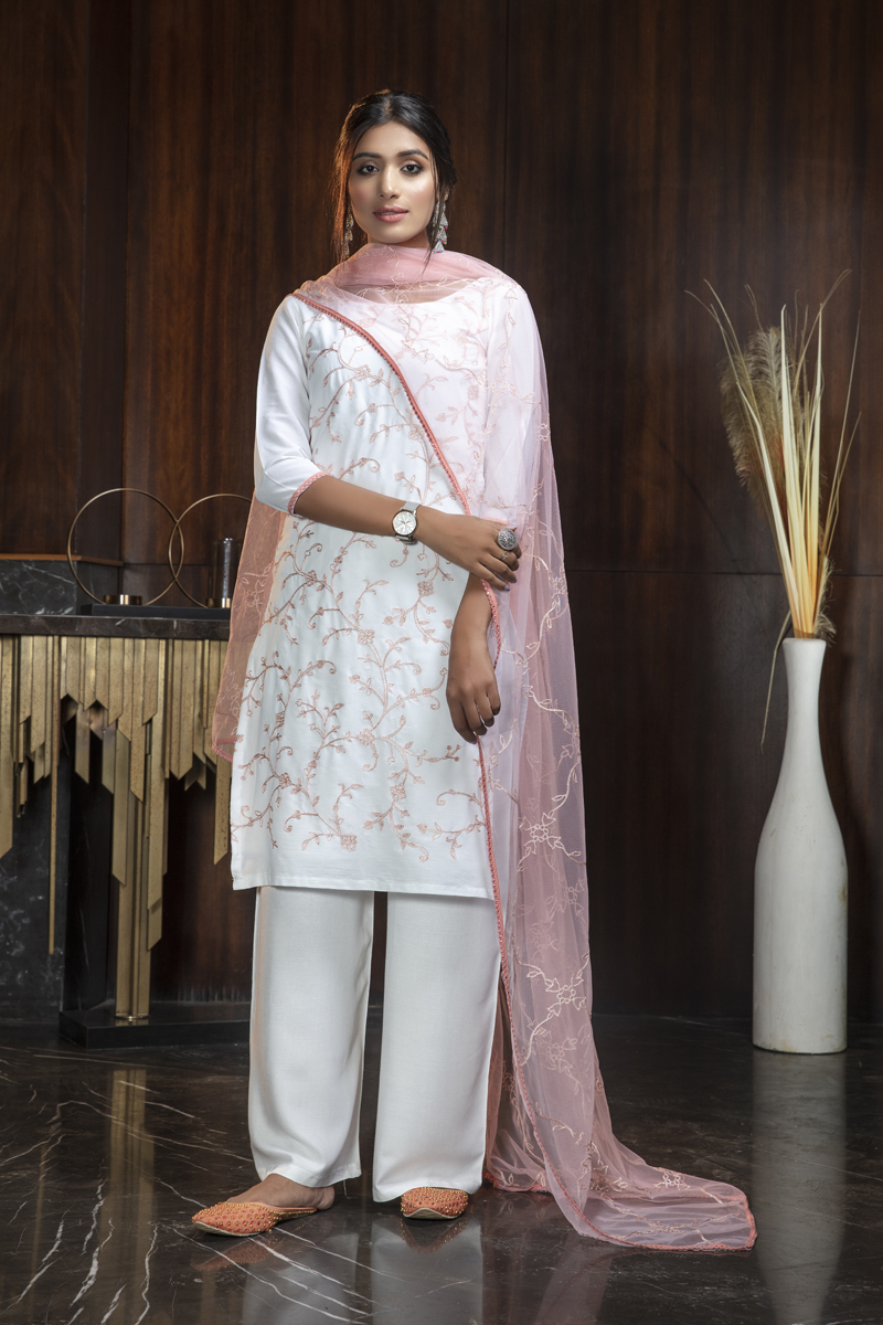 Daily Wear White Color Embroidered Palazzo Salwar Kameez