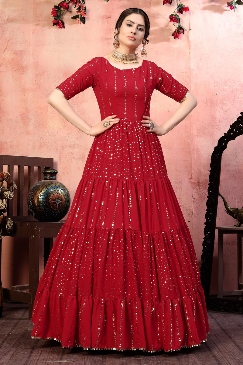Party Wear Georgette Fabric Fancy Sequins Work Gown In Red Color