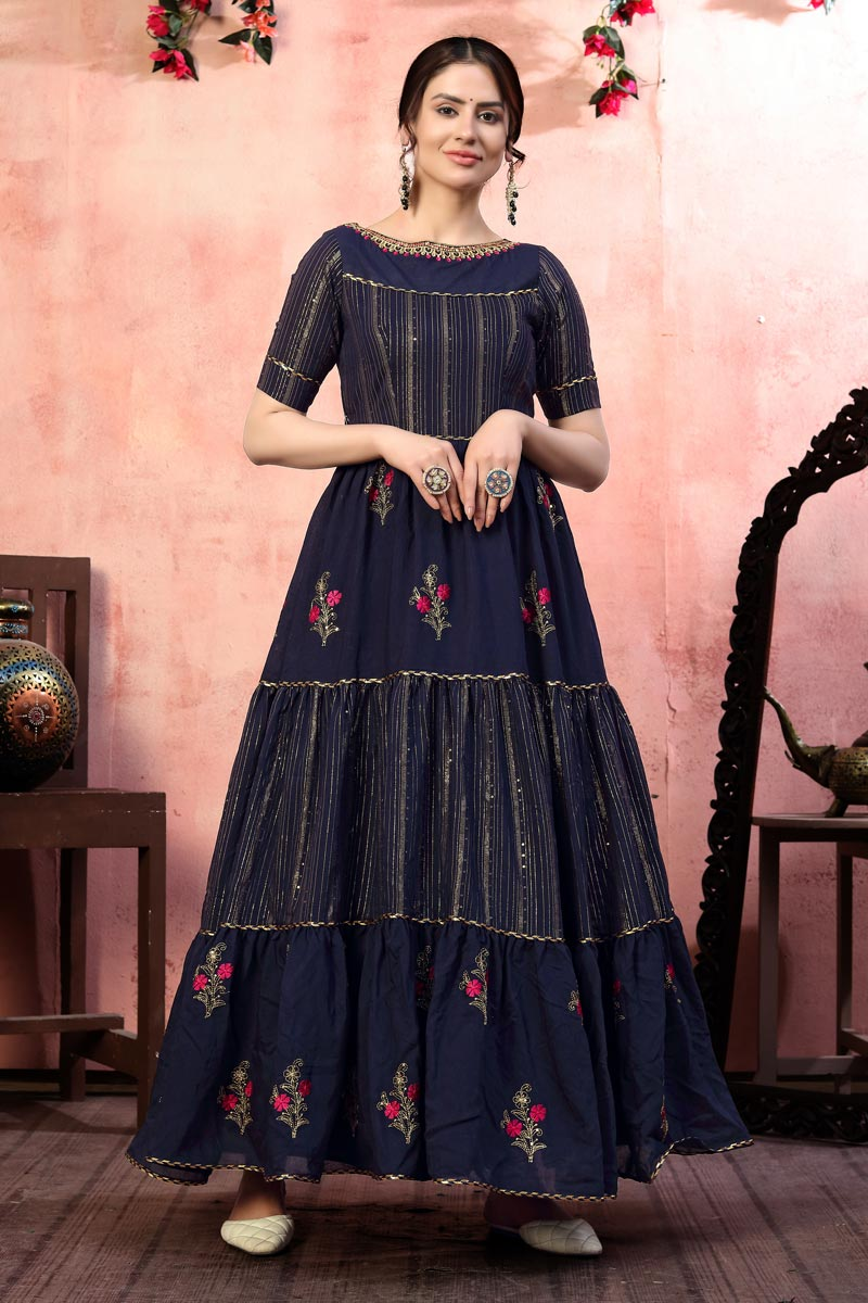 Fancy Art Silk Fabric Navy Blue Color Party Wear Sequins Work Gown