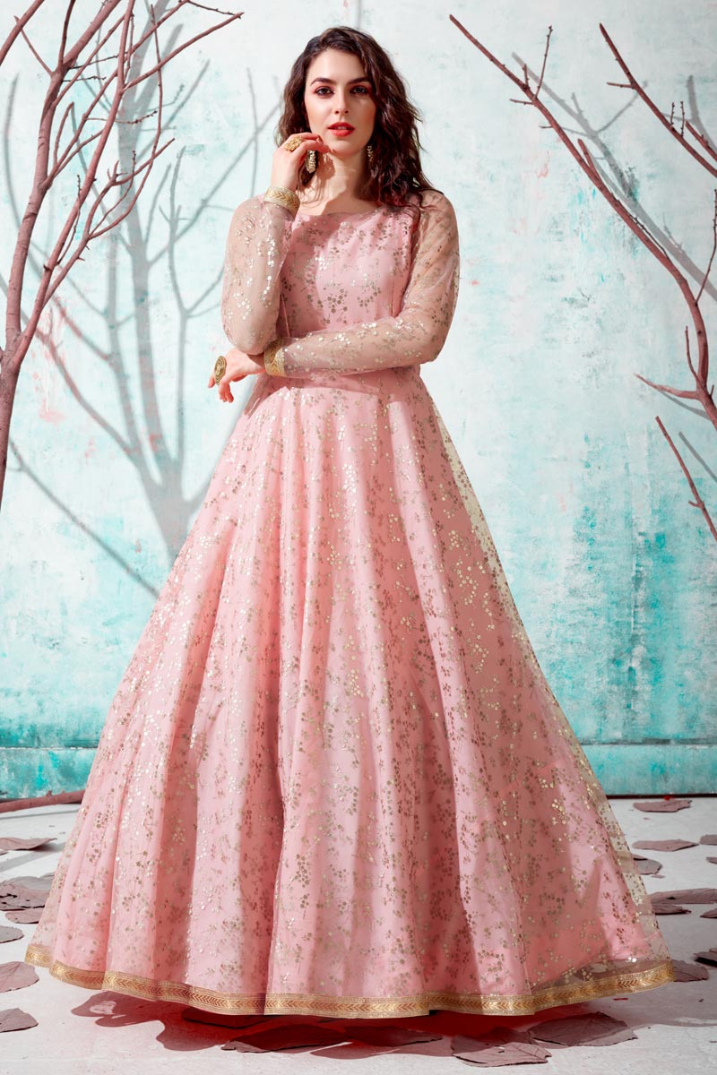 Party Wear Georgette Fabric Fancy Work Gown In Peach Color