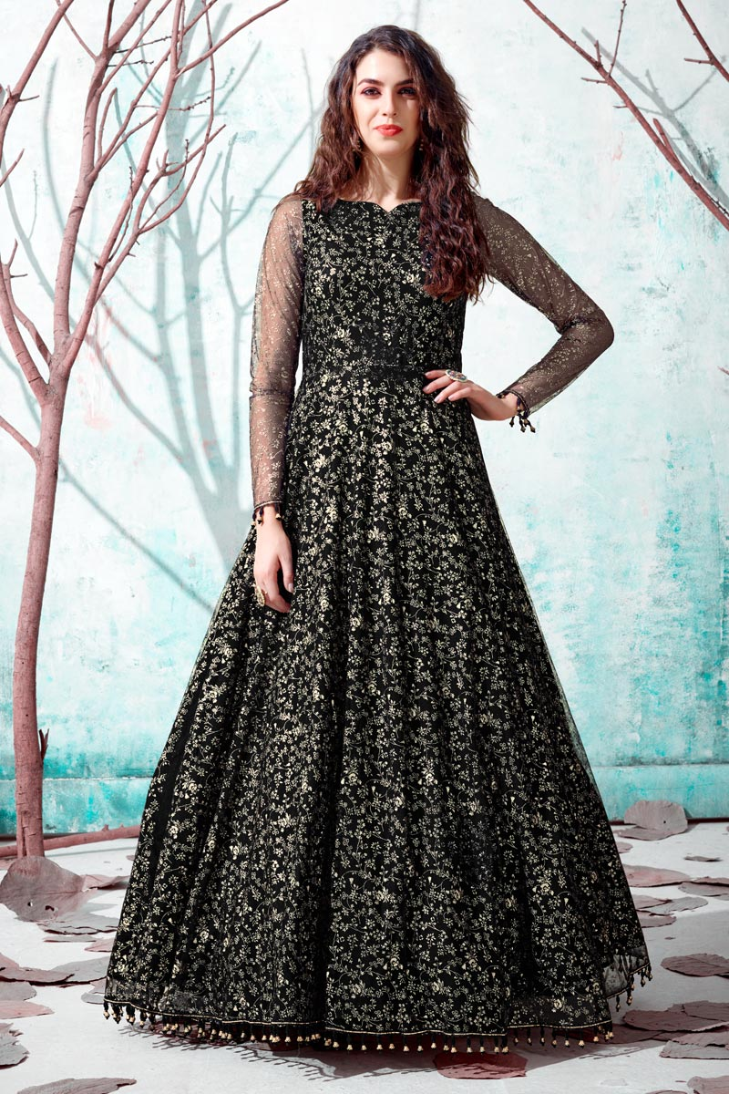 Georgette Fabric Party Wear Fancy Work Black Color Gown