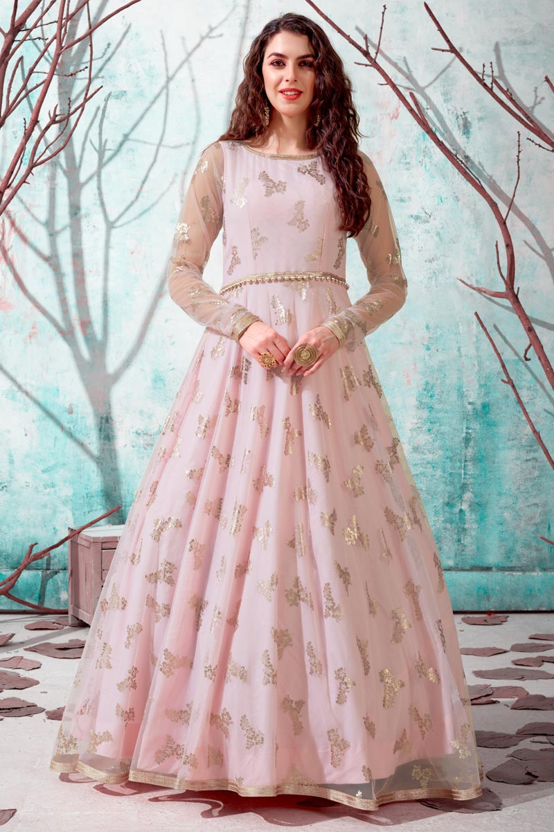Georgette Fabric Party Wear Fancy Work Gown In Pink Color