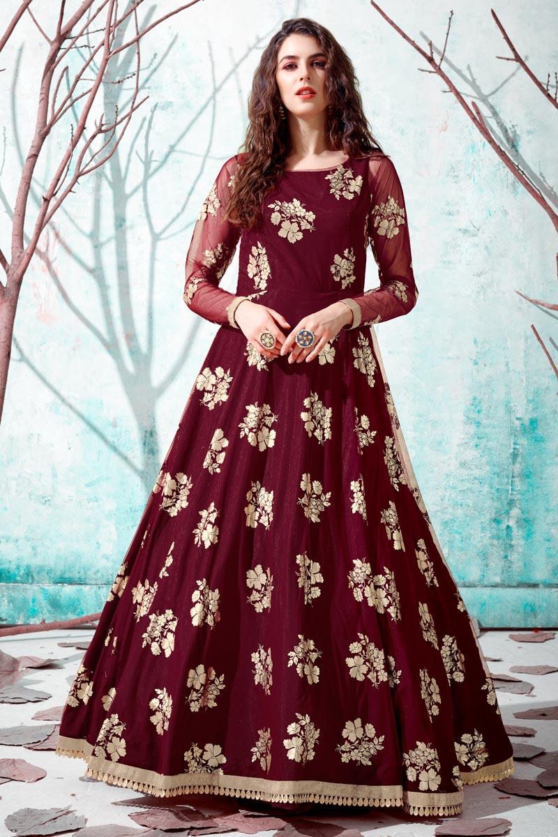 Net Fabric Maroon Color Party Wear Fancy Work Gown