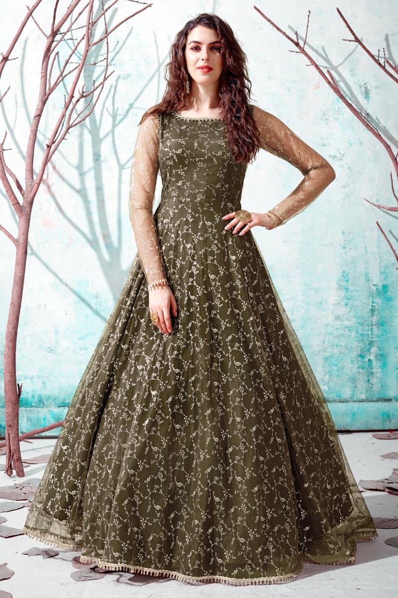 Georgette Fabric Party Wear Mehendi Green Color Fancy Work Gown