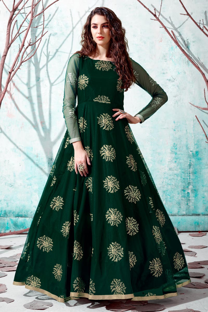 Party Style Dark Green Color Designer Gown In Net Fabric