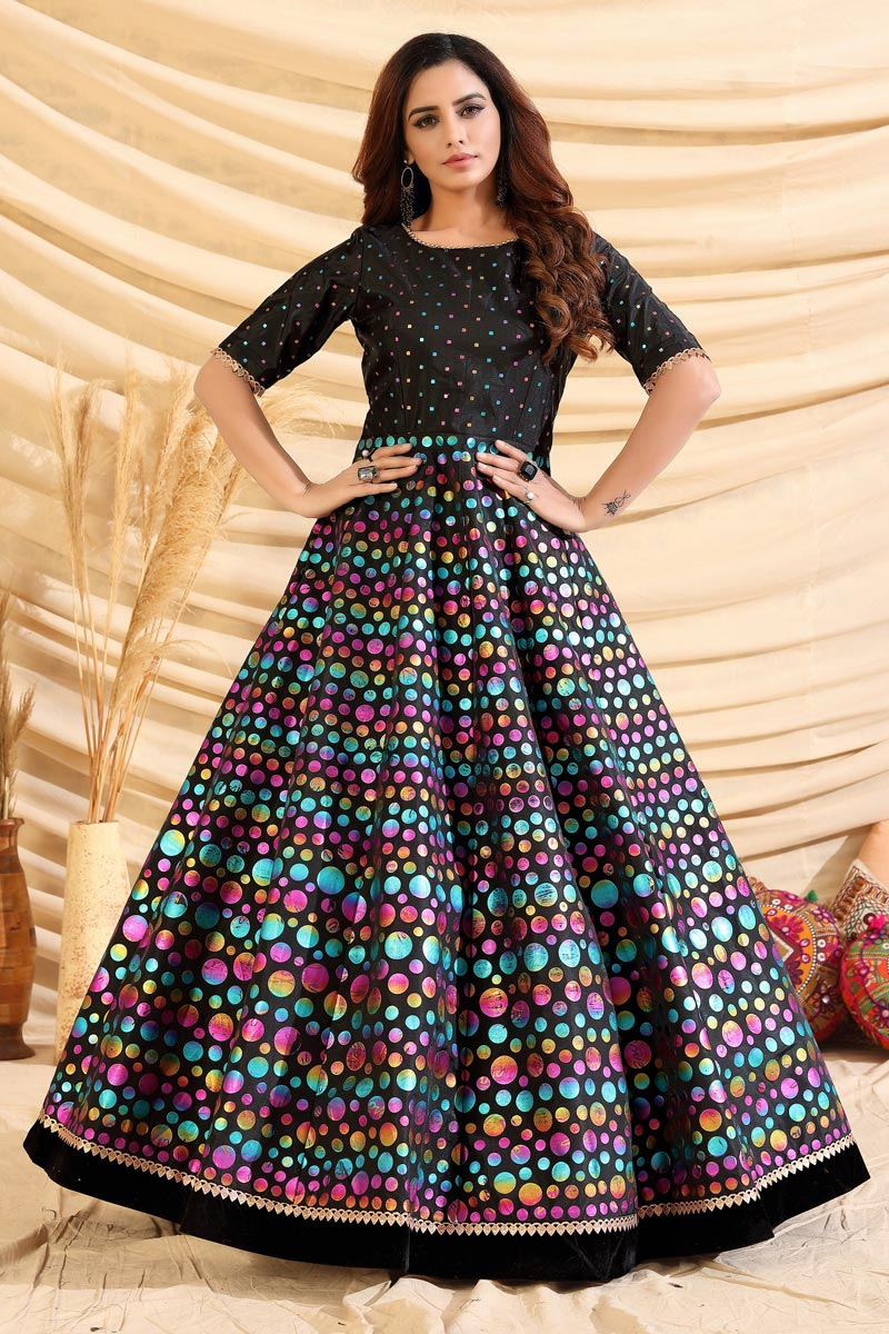 Designer Party Style Art Silk Fabric Black Color Gown