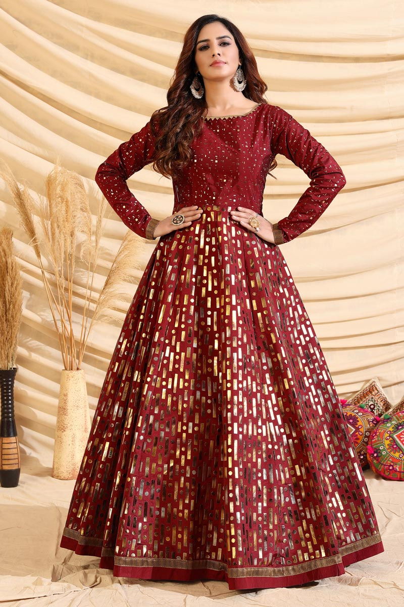 Party Style Maroon Color Designer Gown In Art Silk Fabric