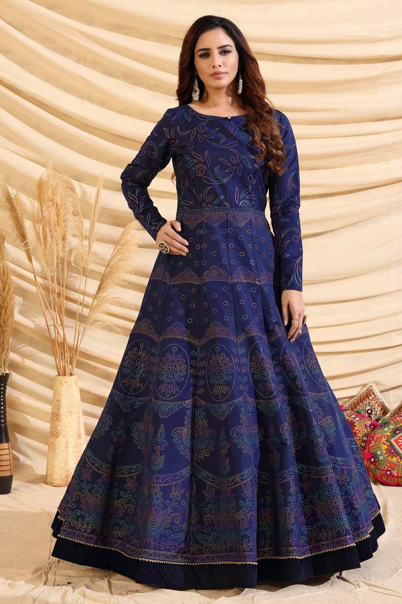 Designer Navy Blue Color Party Style Art Silk Fabric Gown