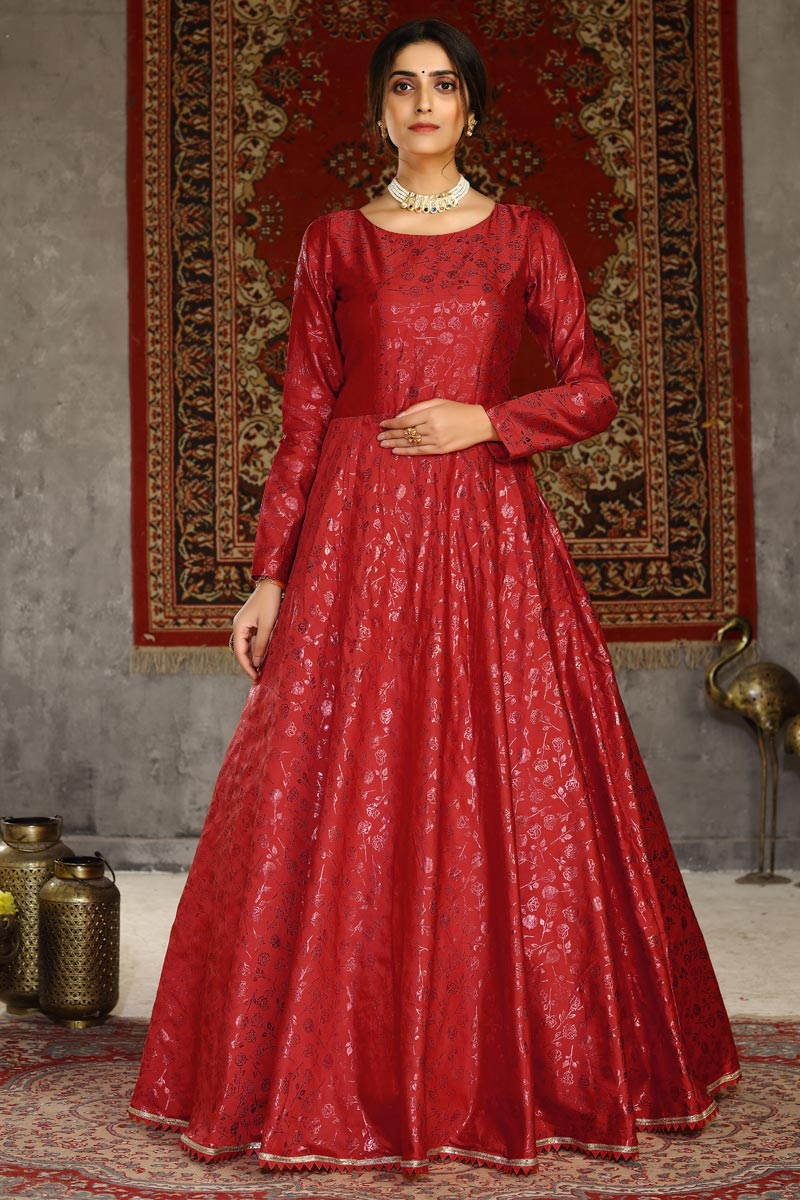 Party Style Red Color Designer Fancy Work Gown In Taffeta Fabric