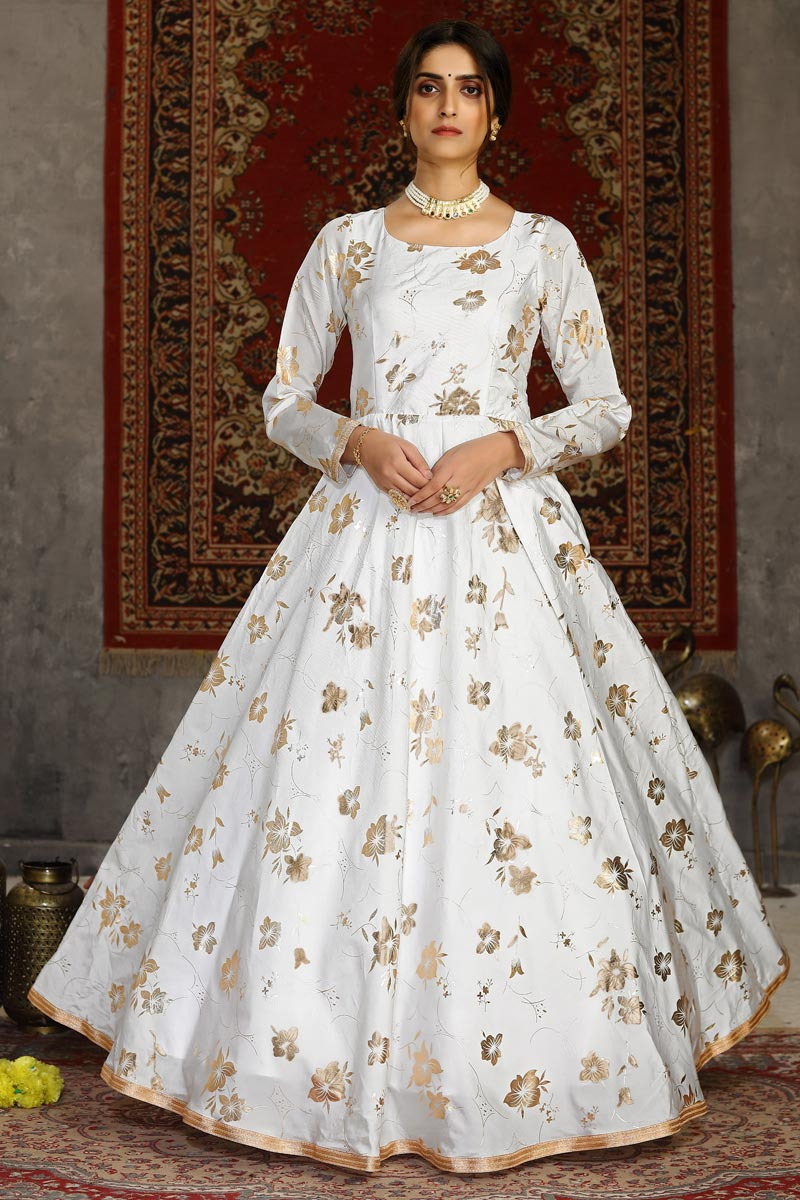 Designer White Color Party Style Fancy Work Taffeta Fabric Gown