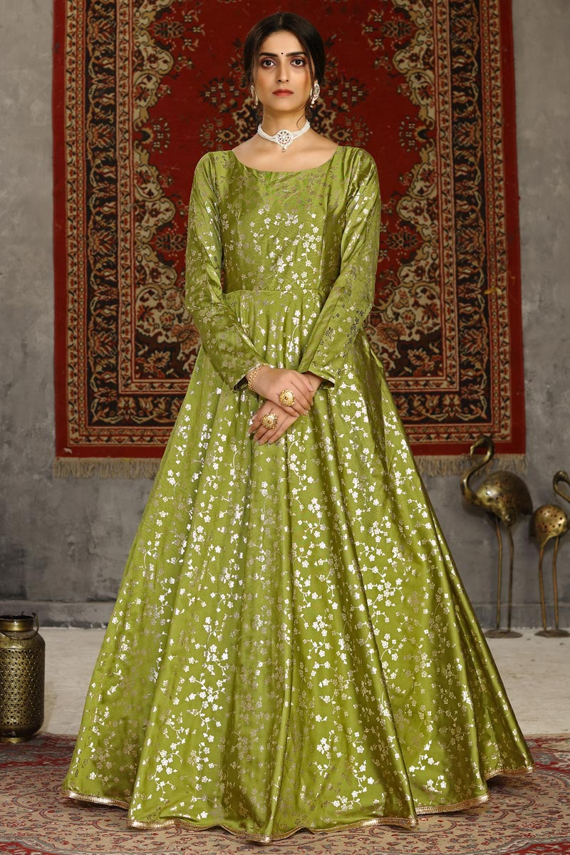 Taffeta Fabric Party Style Designer Fancy Work Gown In Green Color