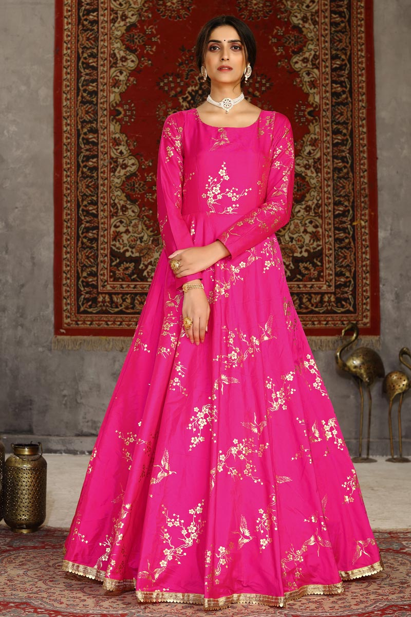 Party Style Fancy Work Rani Color Taffeta Fabric Designer Gown