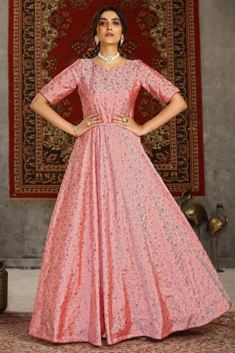 Taffeta Fabric Trendy Fancy Work Festive Wear Gown In Peach Color