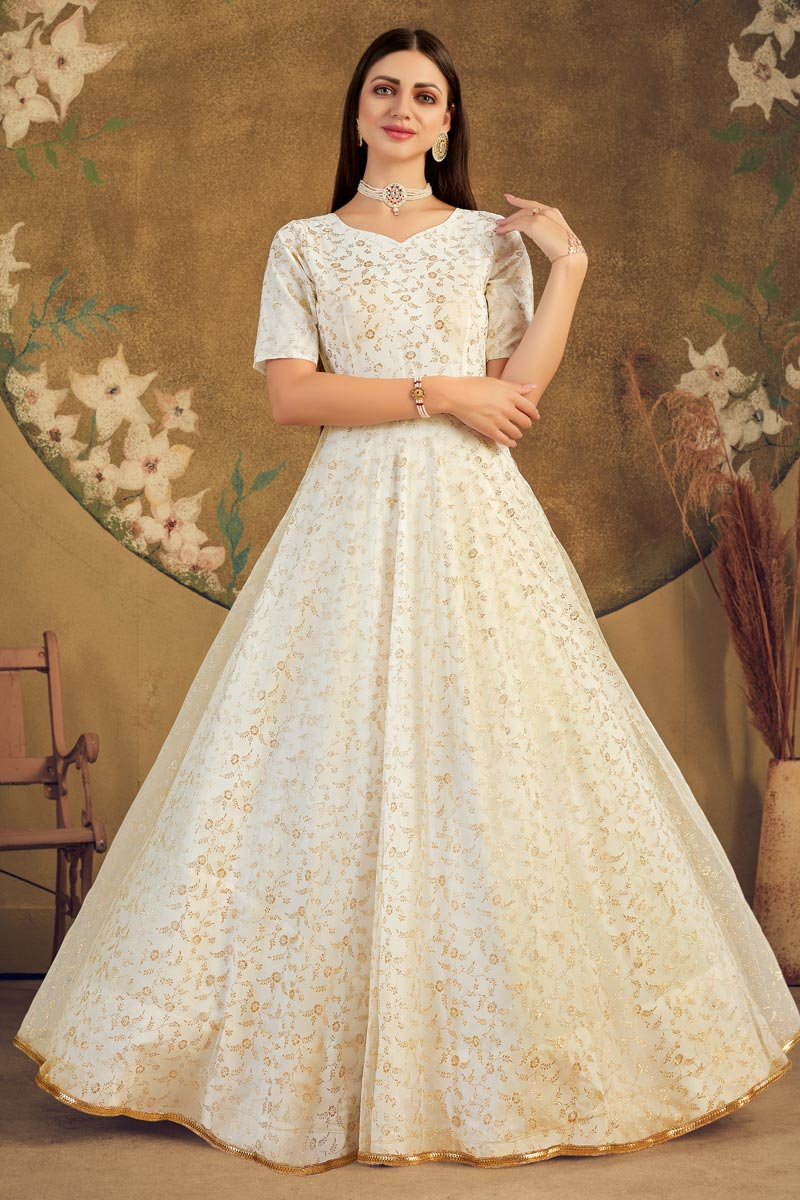 Designer Party Style Net Fabric Beige Color Fancy Work Gown