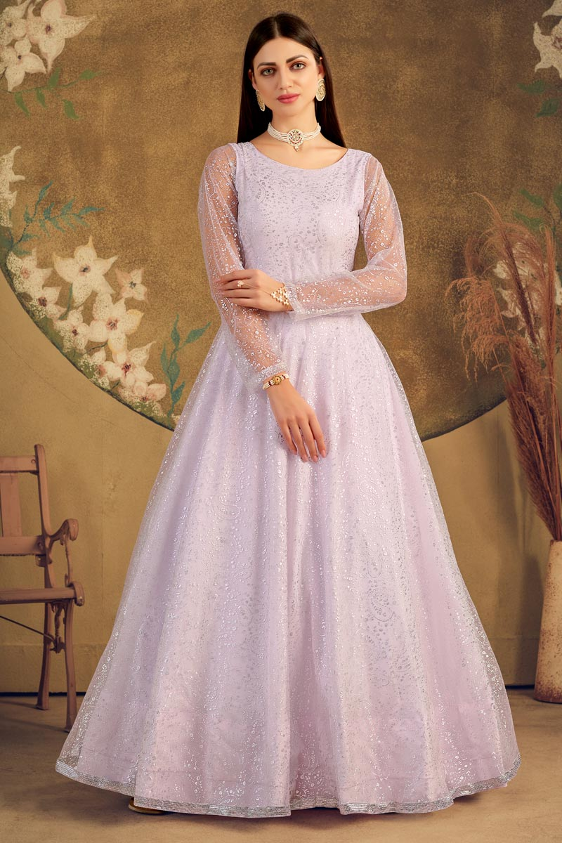Party Style Lavender Color Designer Fancy Work Gown In Net Fabric