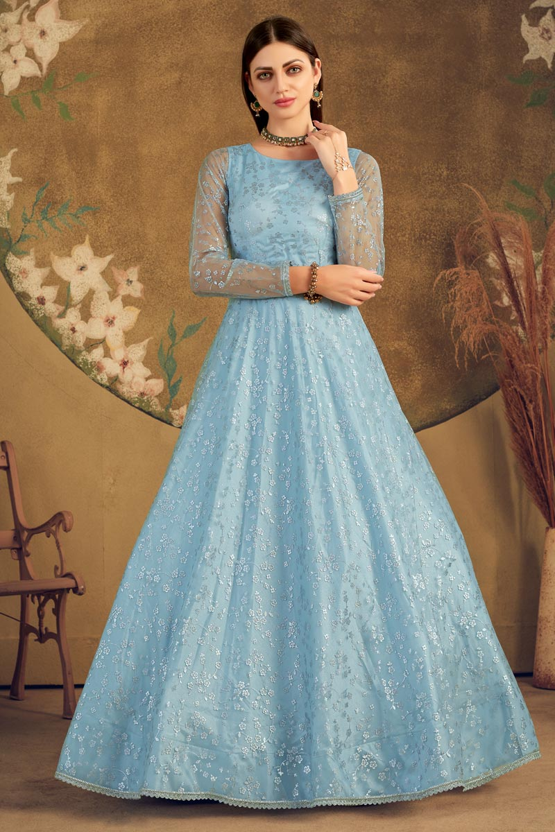 Designer Cyan Color Party Style Fancy Work Net Fabric Gown