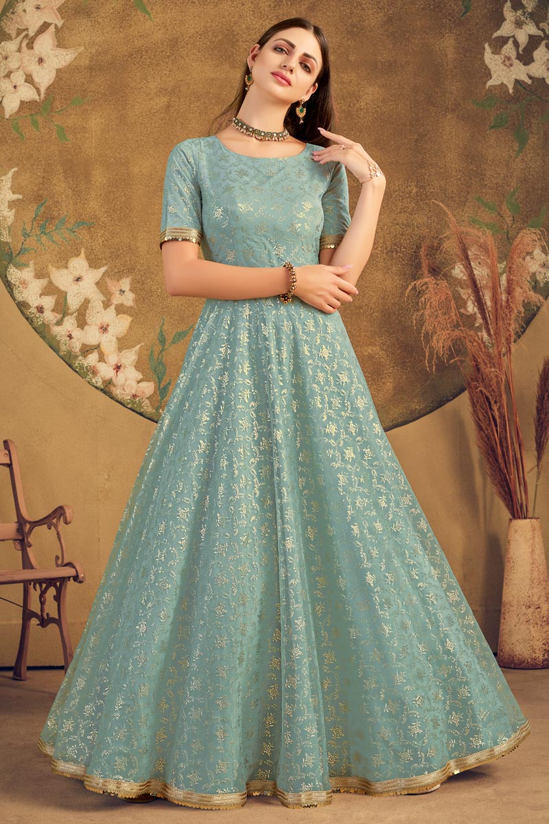 Net Fabric Party Style Designer Fancy Work Gown In Sea Green Color