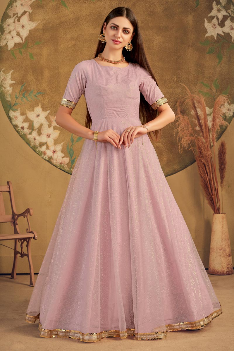 Party Style Fancy Work Pink Color Net Fabric Designer Gown