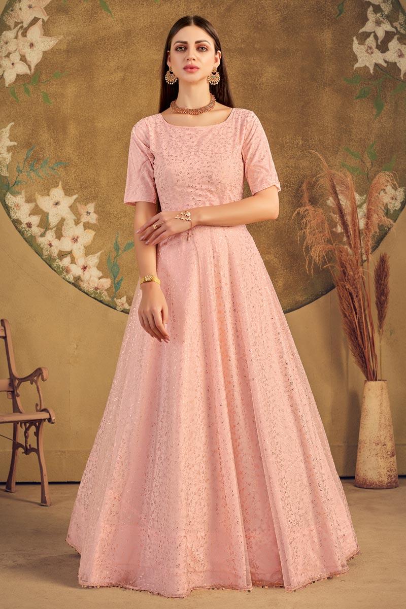 Peach Color Net Fabric Stylish Fancy Work Function Wear Gown