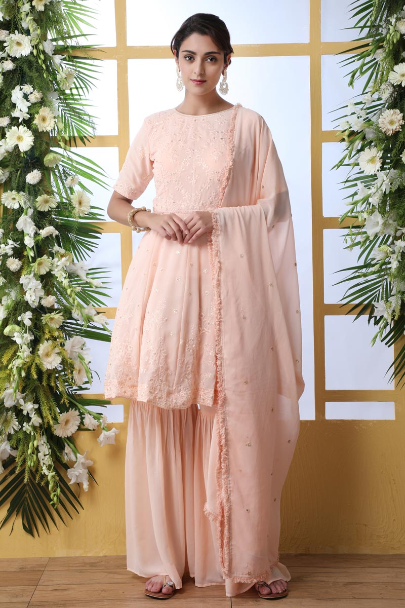 Georgette Fabric Party Style Thread Embroidered Palazzo Suit In Peach Color