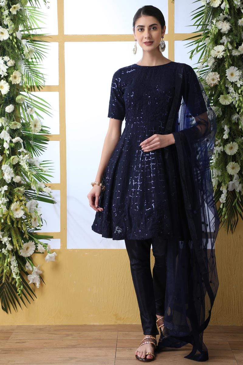 Party Style Georgette Fabric Navy Blue Color Thread Embroidered Designer Dress