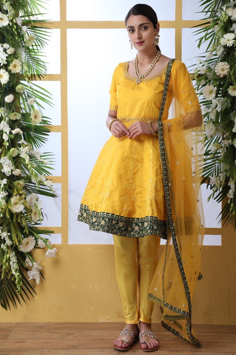 Mustard Color Party Style Thread Embroidered Designer Suit In Art Silk Fabric