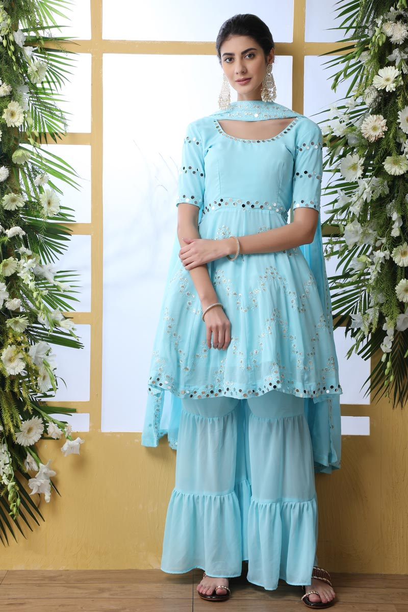 Party Style Sky Blue Color Thread Embroidered Georgette Fabric Palazzo Dress